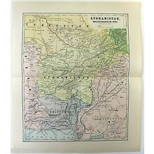 Original Antique 1891 Map of Afghanistan & Beloochistan by Hunt & Eaton