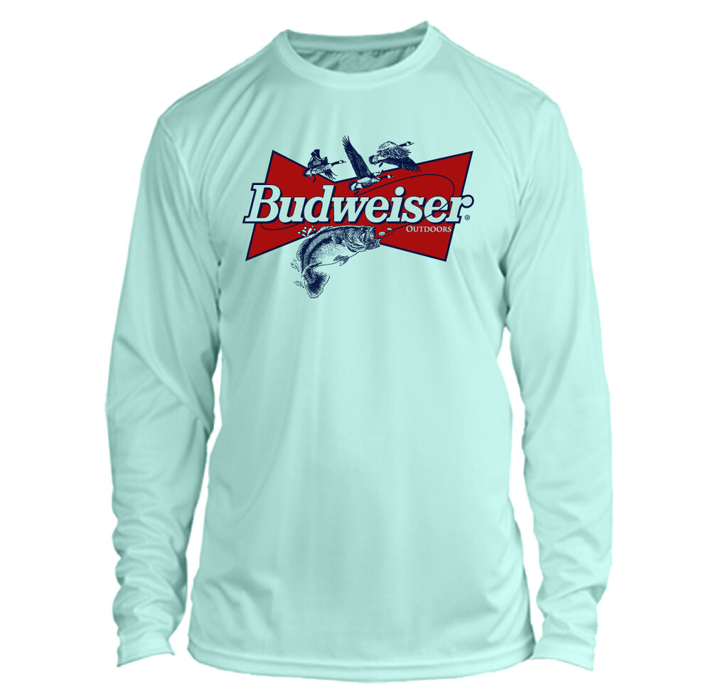 7345702e1 Details about Budweiser Bass Fishing Long Sleeve Microfiber Performance UPF  50 TShirt -Seafoam