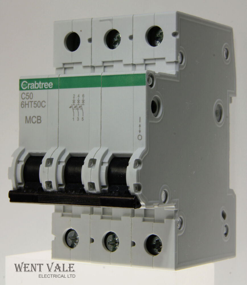 Crabtree Loadstar 6ht50c 50a Type C Triple Pole Mcb Latest Style Wiring Accessories Un Used 5013601052106 Ebay