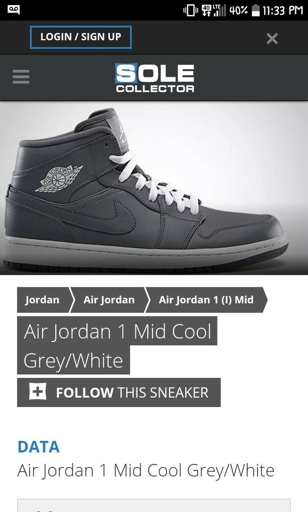 brand new ca613 1433e Air Jordan 1 Mid Men s Basketball Shoes Cool Grey White-Grey 554724-014    eBay