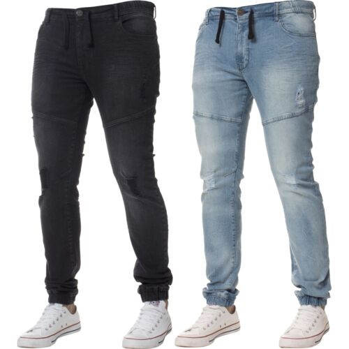 New Enzo Mens Cuffed Jeans Stretch Fit Ripped Designer Denim Jogger All Waists