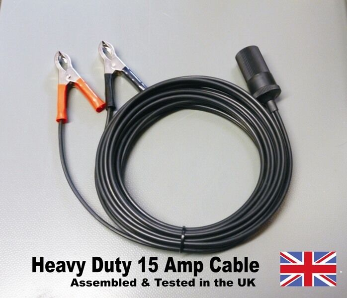 12v Extension Lead Cable 15 Amp Heavy Duty, Cigarette Lighter Socket ...