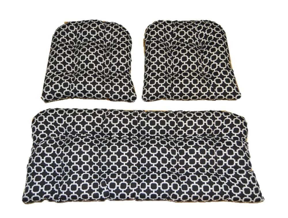 Black White Geometric Indoor Outdoor Cushions For Wicker 3