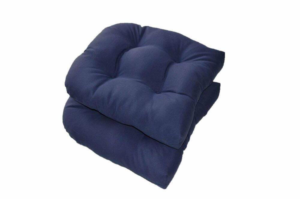 set of 2 solid navy blue tufted wicker u shape chair cushions indoor outdoor 768855587540 ebay. Black Bedroom Furniture Sets. Home Design Ideas