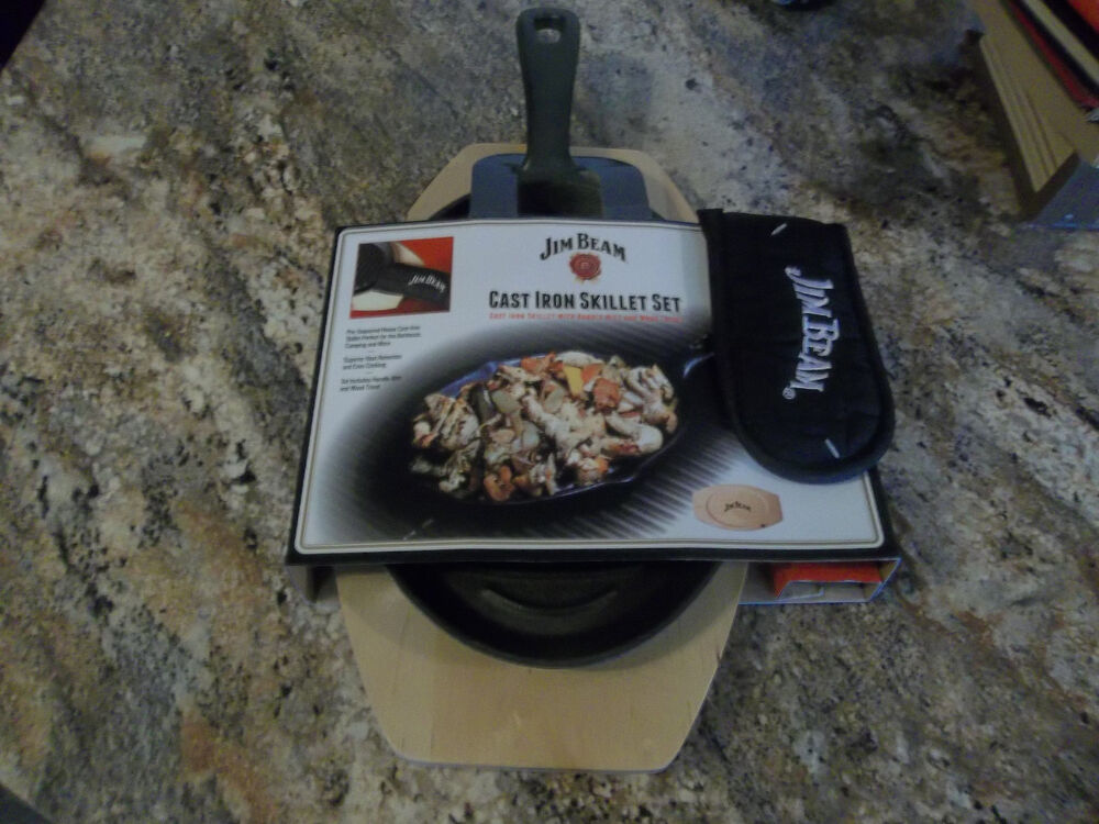 Jim Beam Cast Iron Skillet Set With Handle Mitt And Wood
