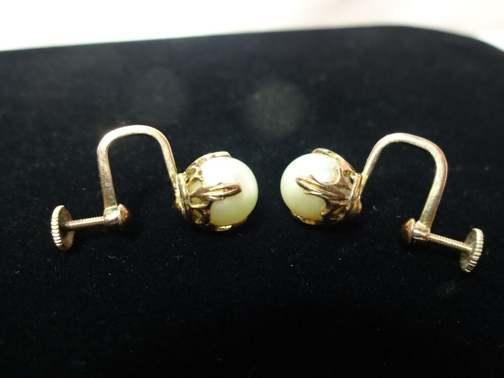 dbd504e40 Details about Vintage estate 10K yellow gold setting genuine pearl screw  back earring set