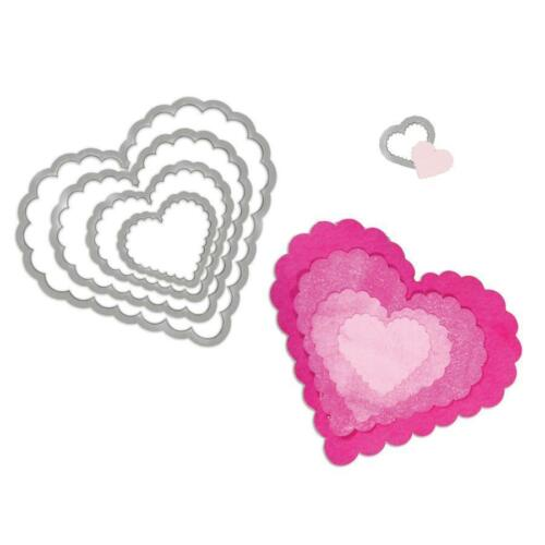 Sizzix Framelits Cutting Dies Set of 5 HEARTS SCALLOP 657562