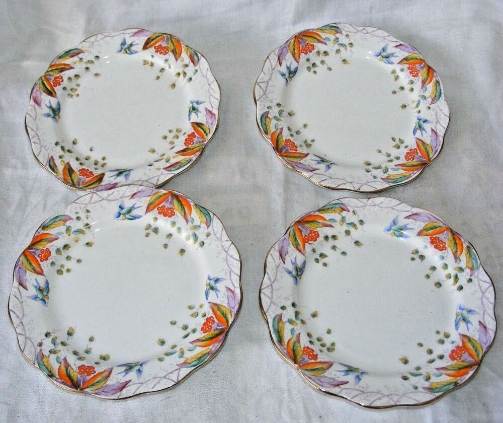 VINTAGE SET 4 ROYAL ALBERT VIRGINIA PATTERN SIDE CAKE PLATES PORCELAIN HAND  PAIN | eBay