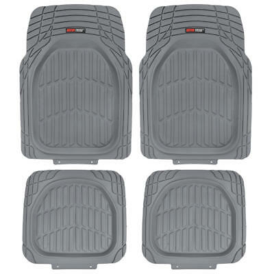 Motor Trend Deep Channels Rubber Car Floor Mats All Weather Protection - Gray