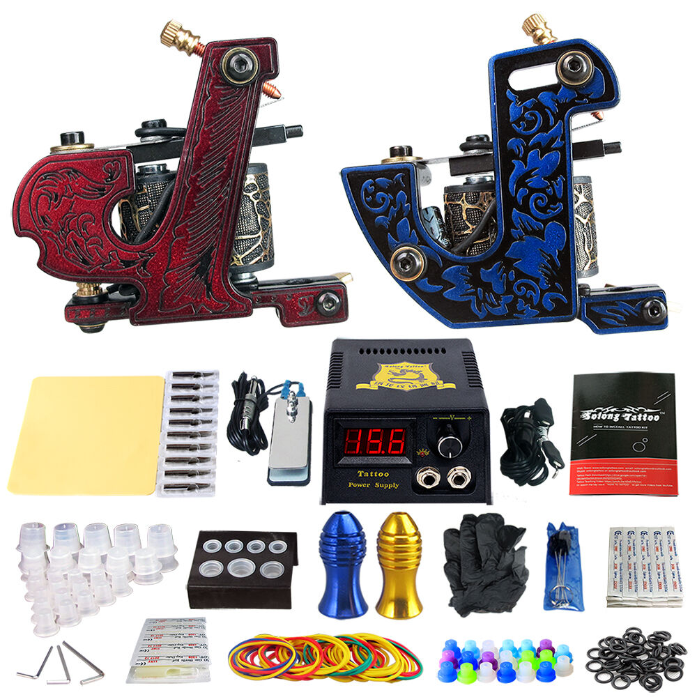Solong Tattoo Starter Tattoo Machine Kit Power Supply Needles Grip ...