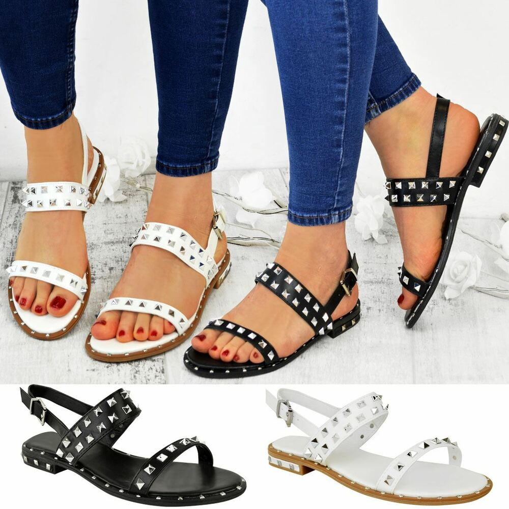 1668369973066 Details about Womens Ladies Flat Studded Sandals Summer Strappy Embellished  Rock Shoes UK Size