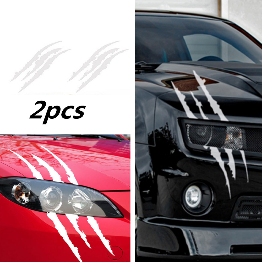 Details about 2x scratch decal monster claw marks car vinyl decal eye catching sticker silver