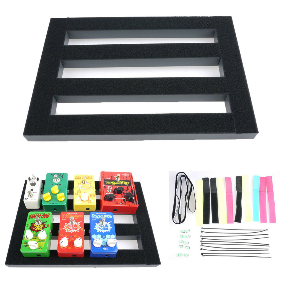 bass guitar effect pedalboard setup pedal board with magic tape cable cord strap ebay. Black Bedroom Furniture Sets. Home Design Ideas