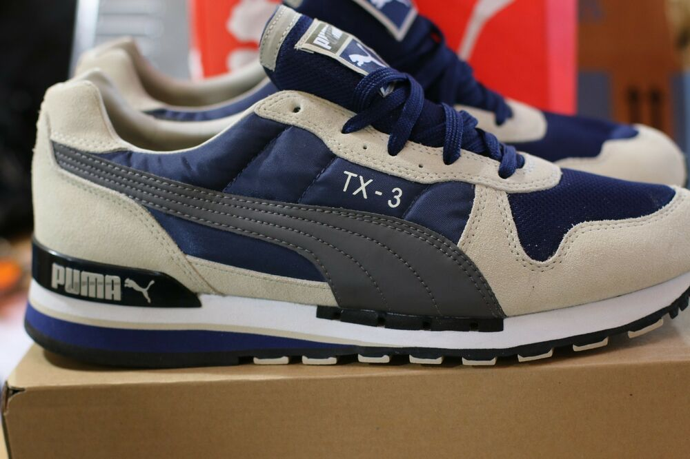 78f40b63f800f4 Details about Puma Men Shoes Tx-3 Navy Blue and Cream Color with Metallic Grey  Puma Strip