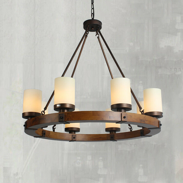 Details About Chandelier Pendant Lights Fixture Round Wood Frame Cylindrical Gl Lamp Shade