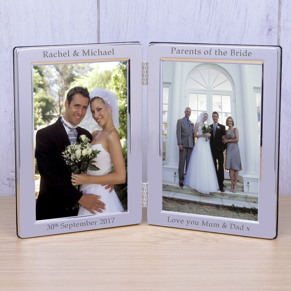 Personalised Silver Plate Wedding Double Photo Frame