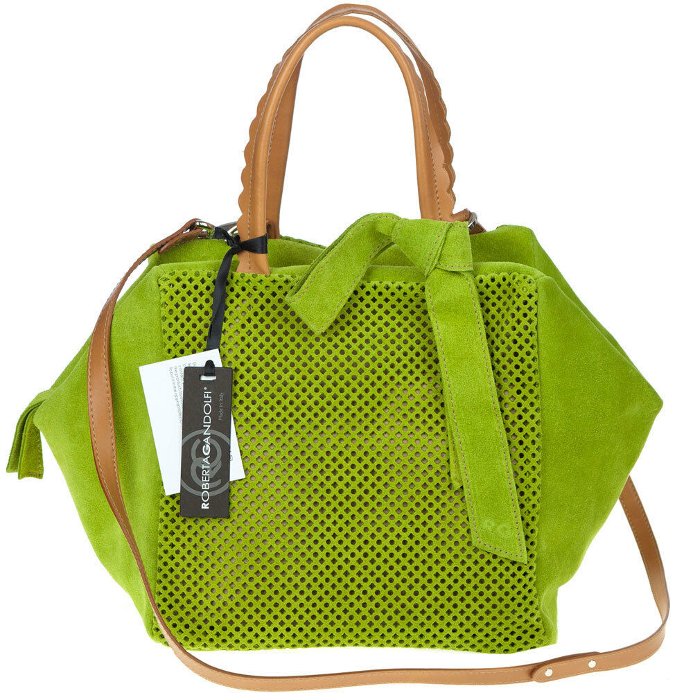 2932c4e8ab72 Details about ROBERTA GANDOLFI Italian Made Green Perforated Suede Designer  Tote Bag with Bow