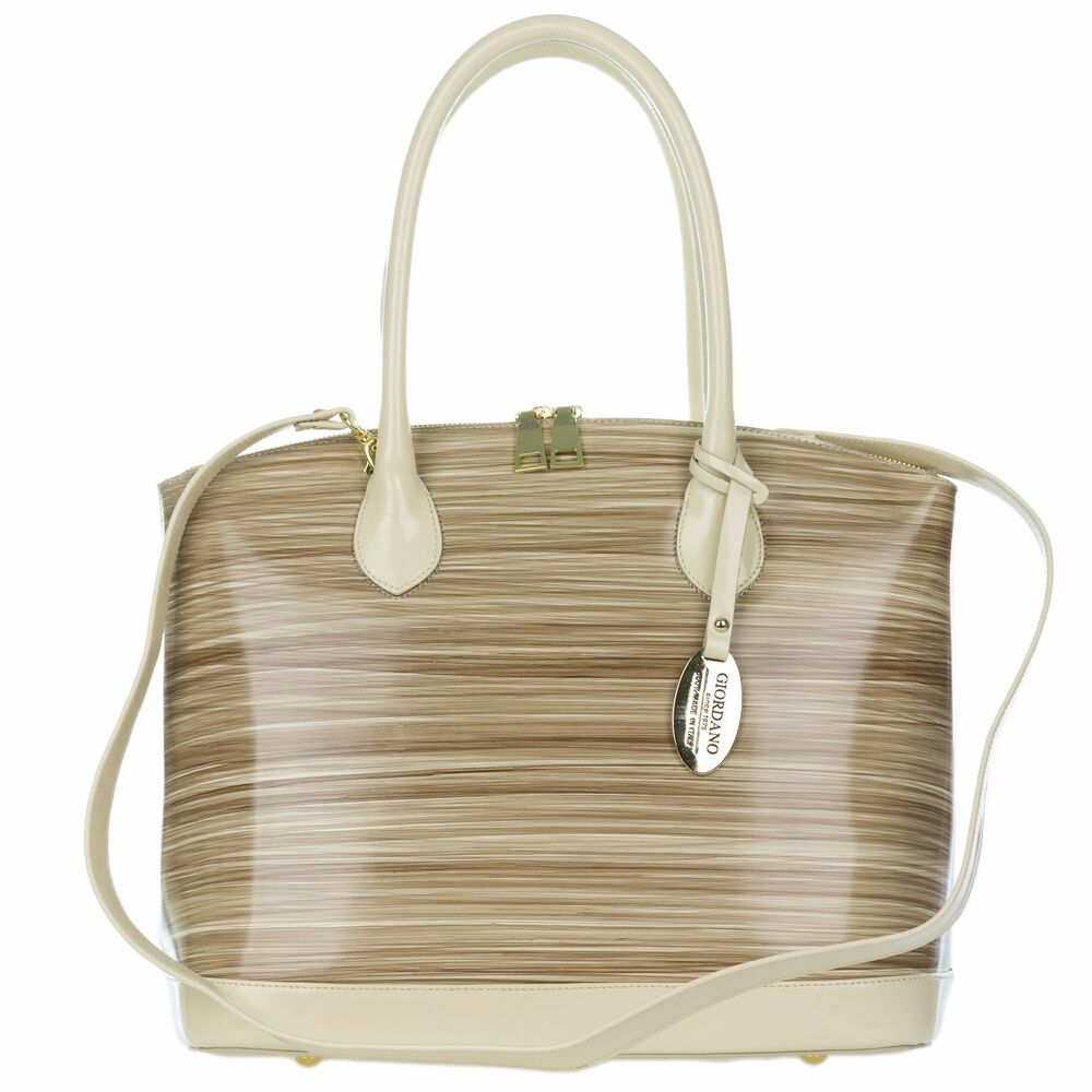 Details about Giordano Italian Made Beige   Brown Stripe Glazed Leather  Tote Handbag Satchel 94b54c6f4b1ea