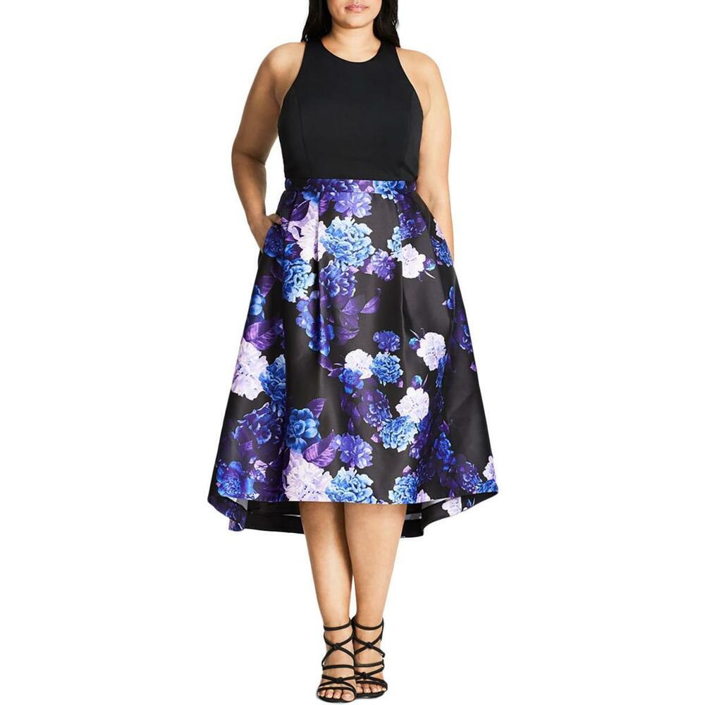 4690cefc1b84 Details about City Chic Womens Plus Printed Hi-Low Sleeveless Semi-Formal  Dress NWOT S 16W 118