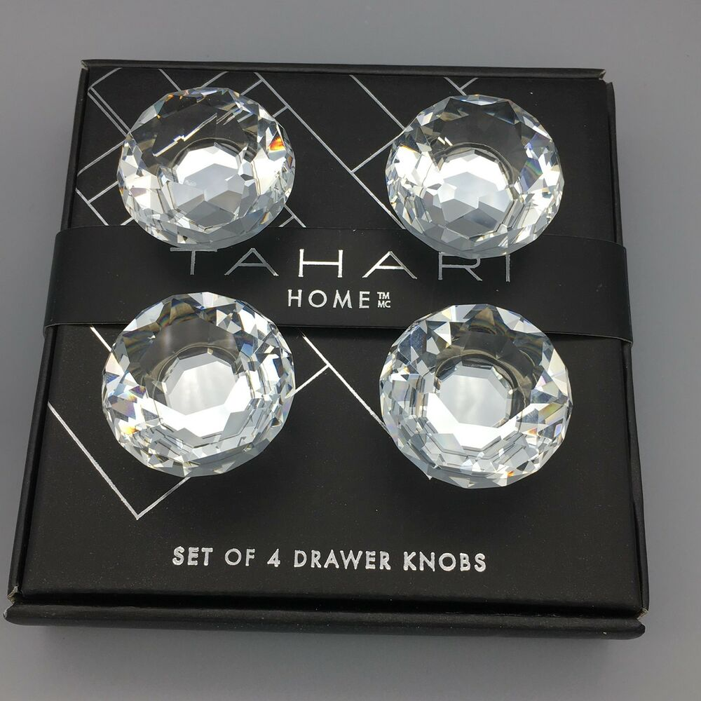 Details About 4 Faceted Round Crystal Drawer Knob Set Cabinet Door Pull  Luxury Tahari NEW