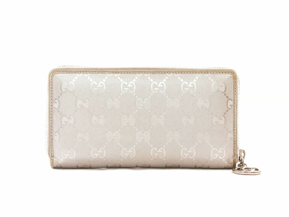 a074ab98488 Details about Authentic Gucci GG Silver monogram zip around long wallet