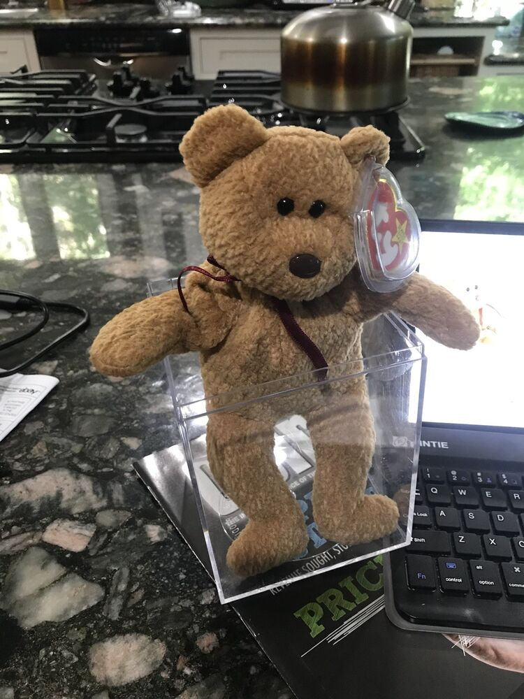 Ty Beanie Baby Quot Curly Quot Bear Retired With Tag Errors Rare