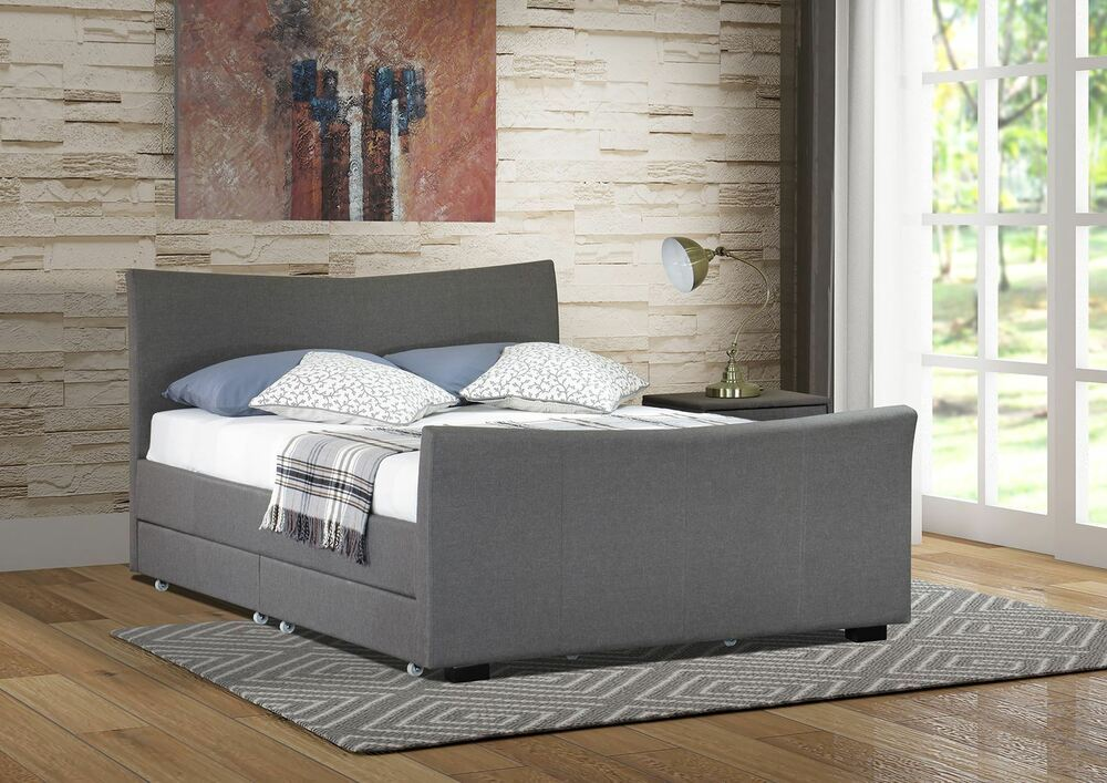 4 Drawers Storage Fabric Bed Frame Double Or King Size