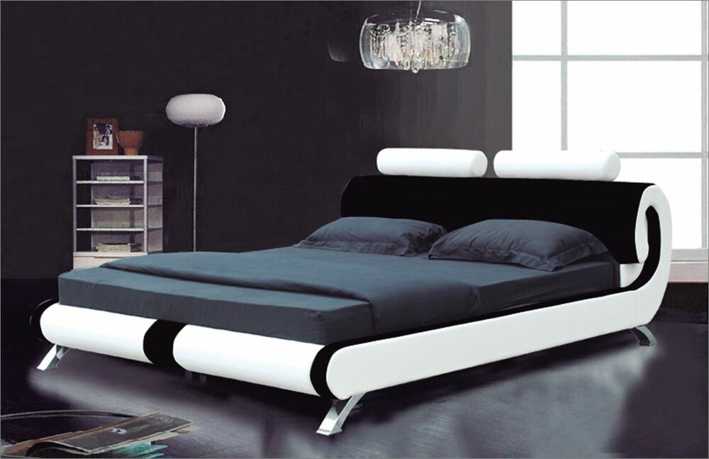 Modern Italian Designer Double King Size Leather Bed 2 Colours