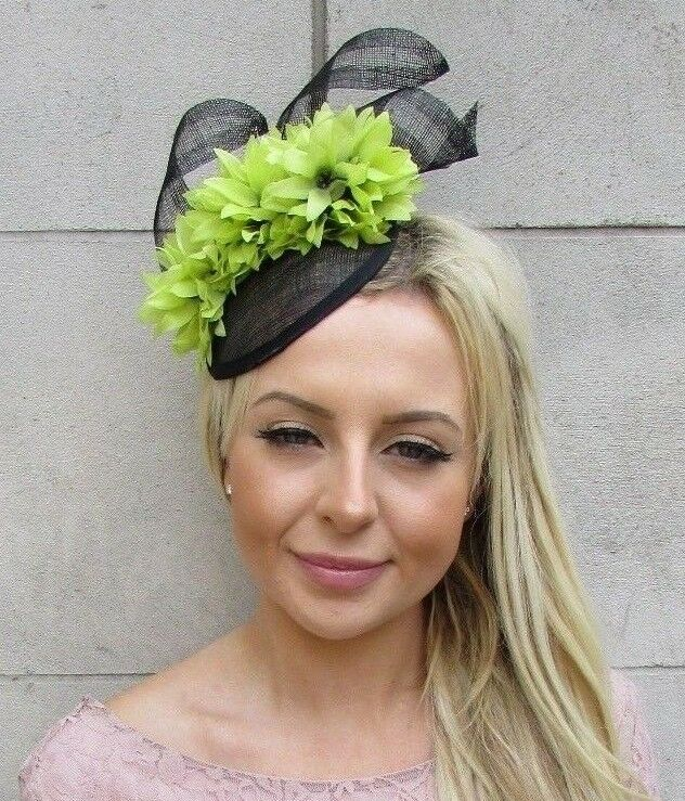 Details about Black   Lime Light Green Flower Hat Fascinator Races Wedding  Hair Sinamay 5891 23289c403e8