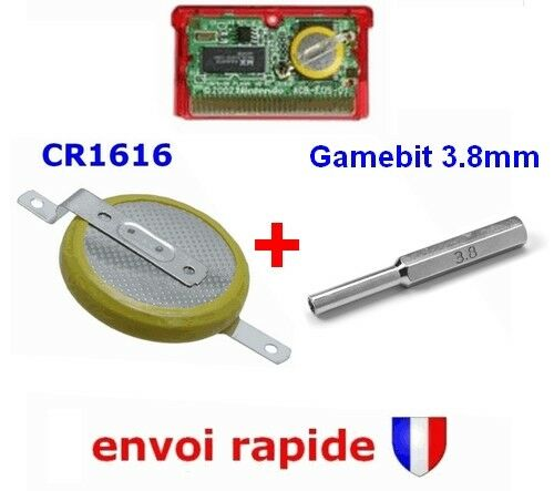Pile CR1616 sauvegarde Pokemon GameBoy Advance + Outil Embout Gamebit 3.8mm