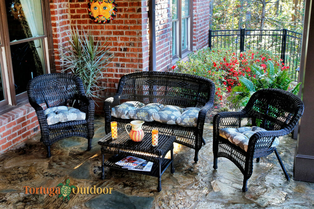 Details About Dark Wicker Patio Furniture 4 Piece Set Outdoor Garden Seating With Cushions