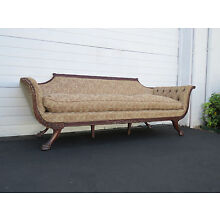 Duncan Phyfe Style Carved Solid Mahogany Claw Feet Long Couch Sofa 8467