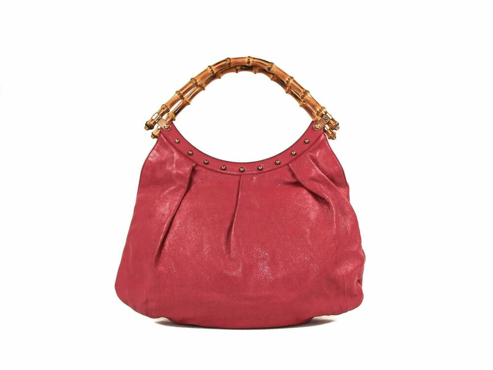 b86d08a26348 Details about Authentic Gucci Magenta Leather and Bamboo handle tote