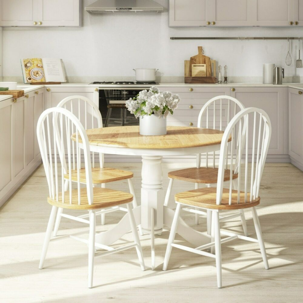 White Dining Table Bench: Rhode Island Natural & White Round Kitchen Dining Table
