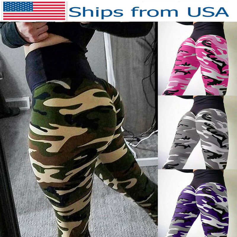 e5fabc55d2afe Details about US Sale Women High Waist Camo Printed Leggings Sports Running  Wrinkle Yoga Pants