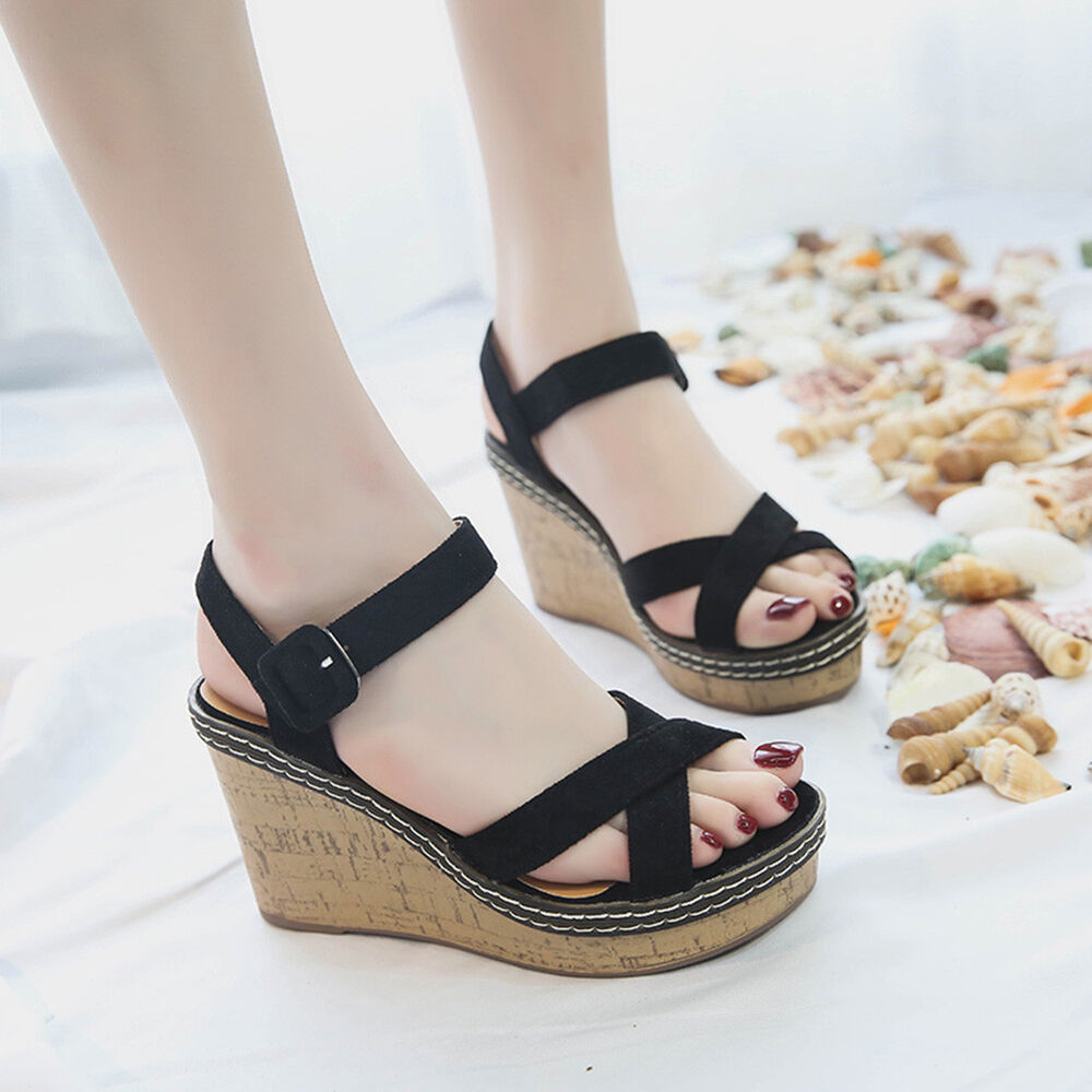 84b950a4e30 Womens Wedge Sandals Suede Platform Ankle Strap Open Toe Shoes High Heels  Summer
