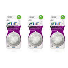 Philips AVENT BPA Free Natural Nipple Shape, Slow Flow 1m+, 2 Count (3 Pack)