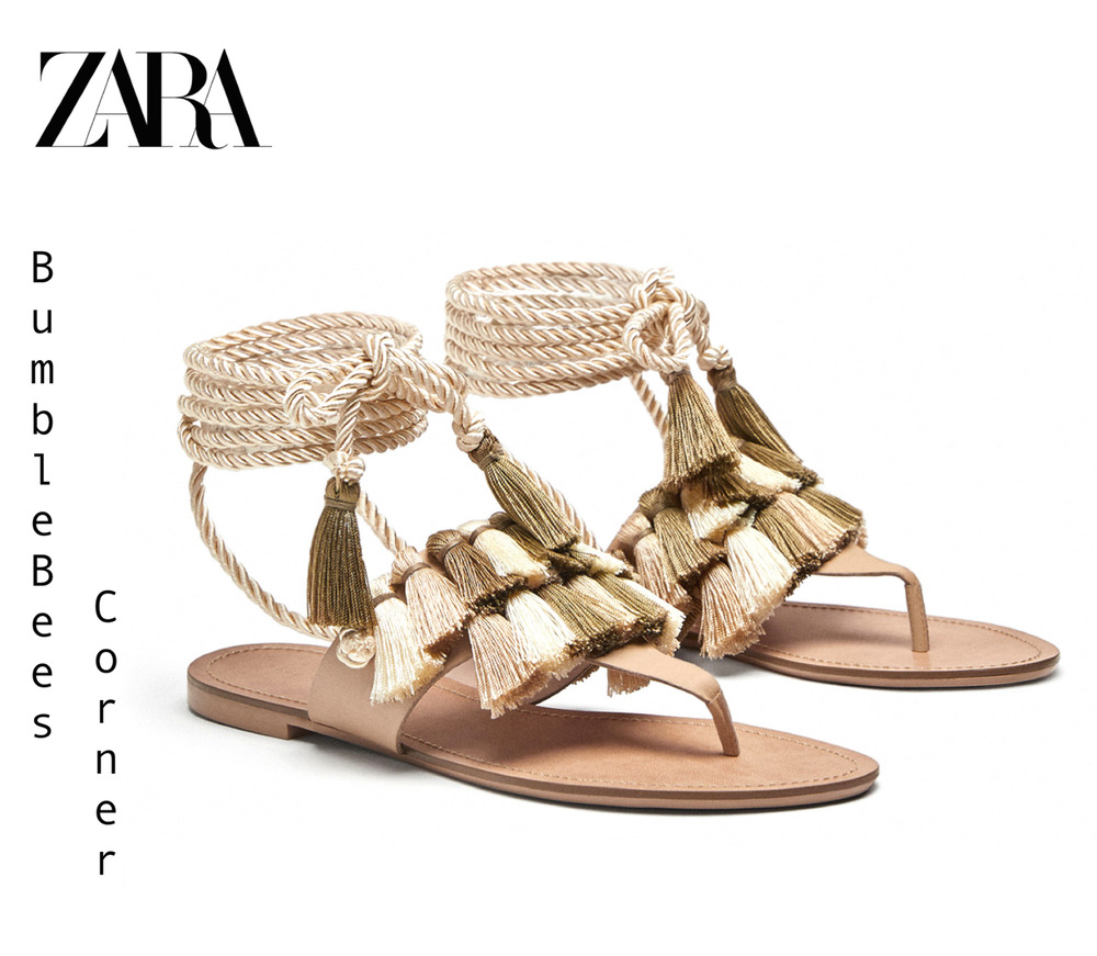 95acdd3b7c4d Details about ZARA Flat Leather Sandals TASSEL Lace Up Rope Cord GLADIATOR  Shoes NWT 7652 301
