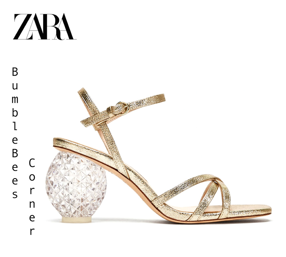 f518ccab4f5 Details about ZARA Block High Heel Sandals LIMITED EDITION Shoes GOLD Straps  NIB 2310 301