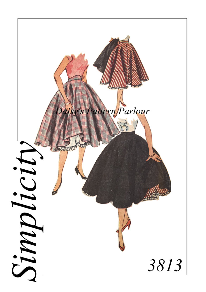 Vintage Sewing Pattern 1950 Circle Skirt Petticoat 3813 Rockabilly ...
