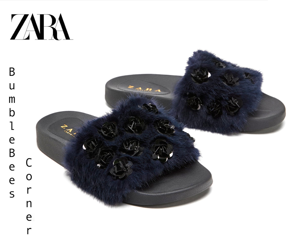 6bea45697dd Details about ZARA Faux Blue Fur Slides Black BEADS FLORAL DETAIL Sandals  Shoes NWT 3630 301