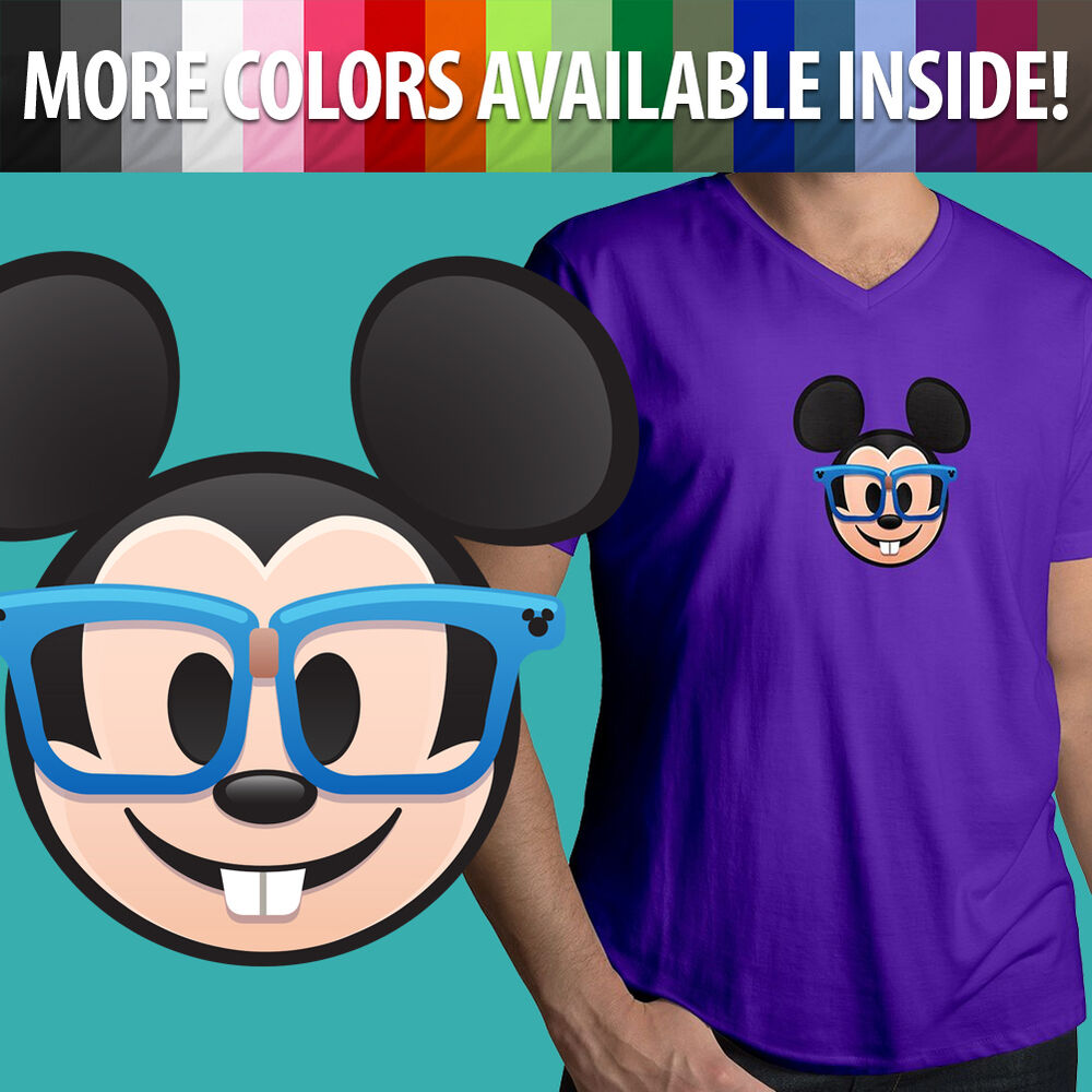 75a267c6 Details about Nerd Glasses Mickey Mouse Face Emoji Disney Cartoon Cute Mens  Tee V-Neck T-Shirt