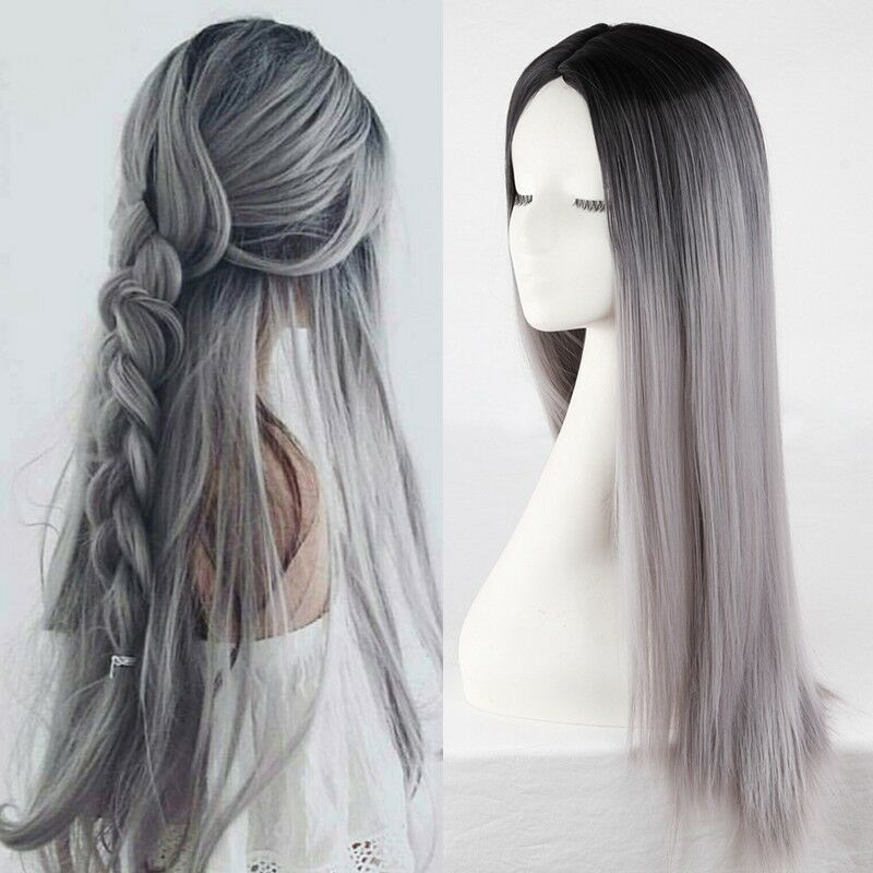 Long Straight Ombre Grey Wigs Synthetic Hair Middle Part Cosplay