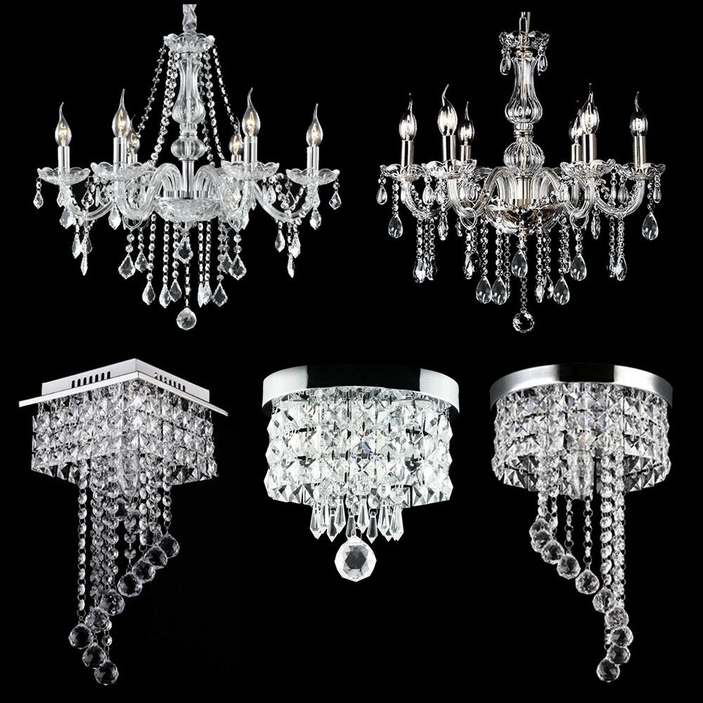 Details about modern chandelier crystal glass led ceiling light fixture pendant hanging lamp
