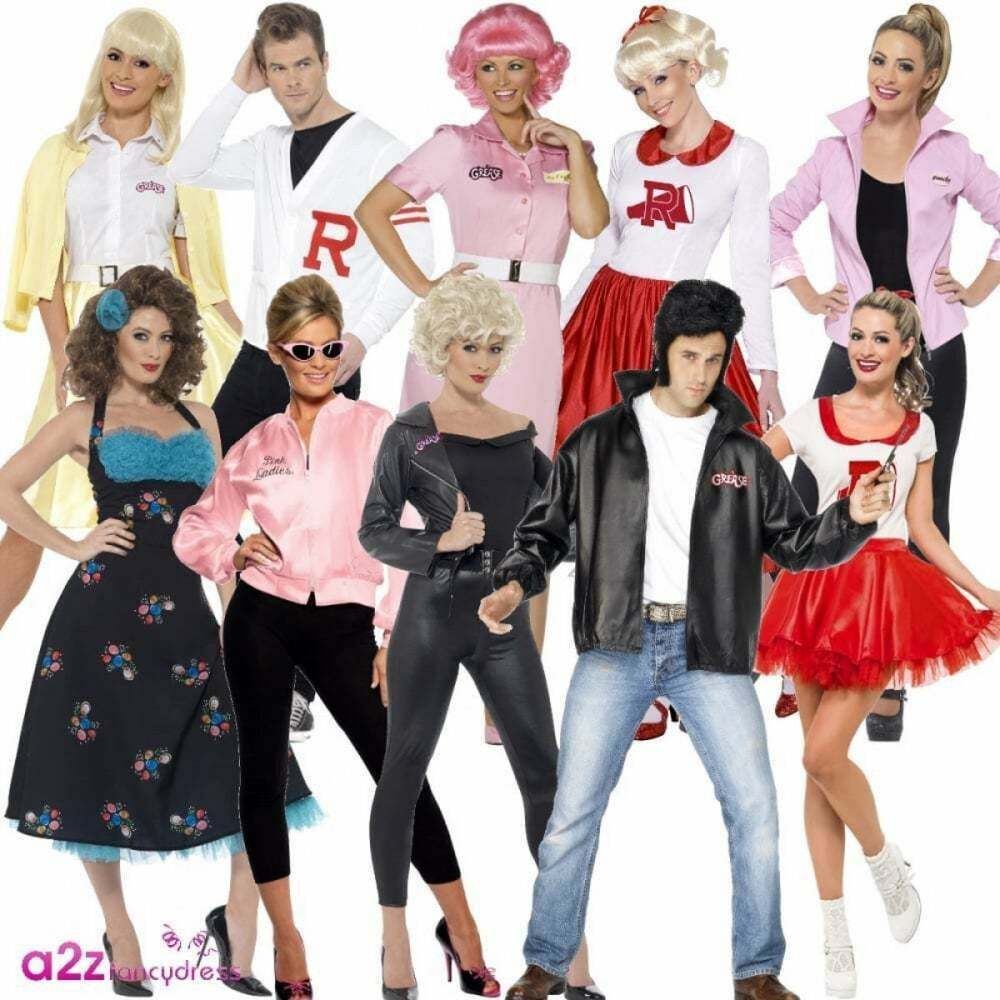 c1c08023128 Details about Official Grease Costume Adults Mens Womens Ladies 50 s 1950s  Fancy Dress Outfit
