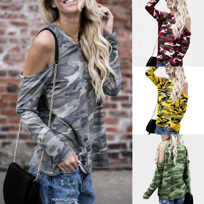 15338c6eea9796 Details about Women Cold Shoulder Camouflage Long Sleeve Blouse Slim Tops  Tunic Loose T-Shirt
