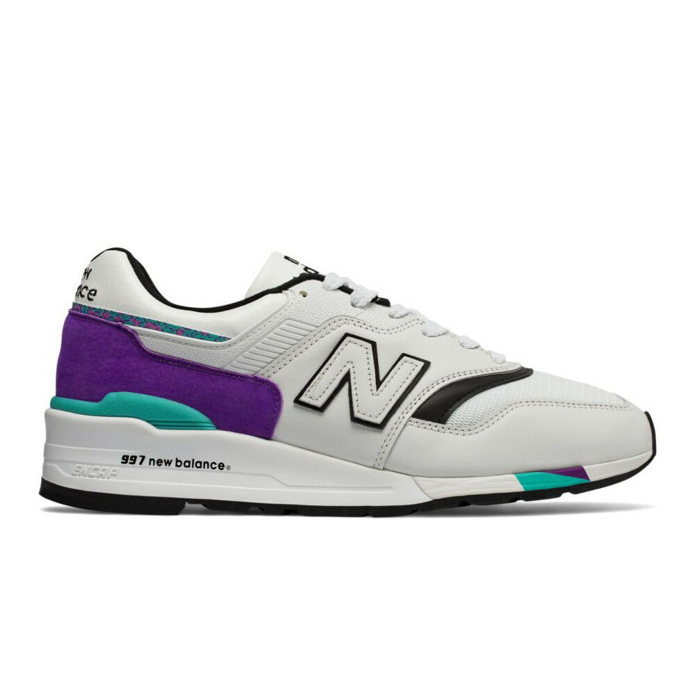 promo code 643c9 a0bf2 Details about New Balance 997 White Purple   M997WEA   Men s NB Leather  Mesh Teal Made in USA