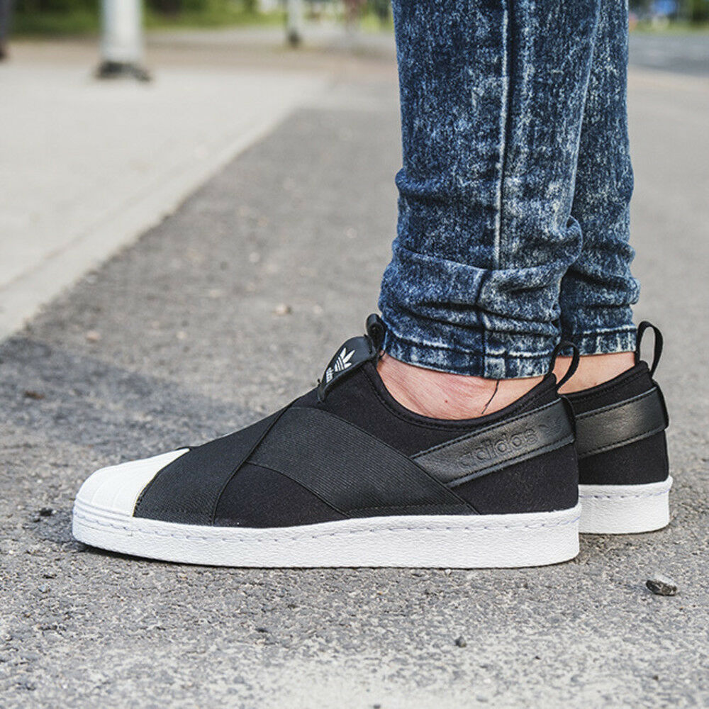 1d1886bb675f Details about Adidas Originals Superstar Women s Slip-On Athletic Sneakers  Black Shoes S81337