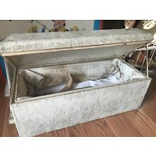 Rare Vintage Antique White Child Baby Funeral Casket Coffin haunted doll inside