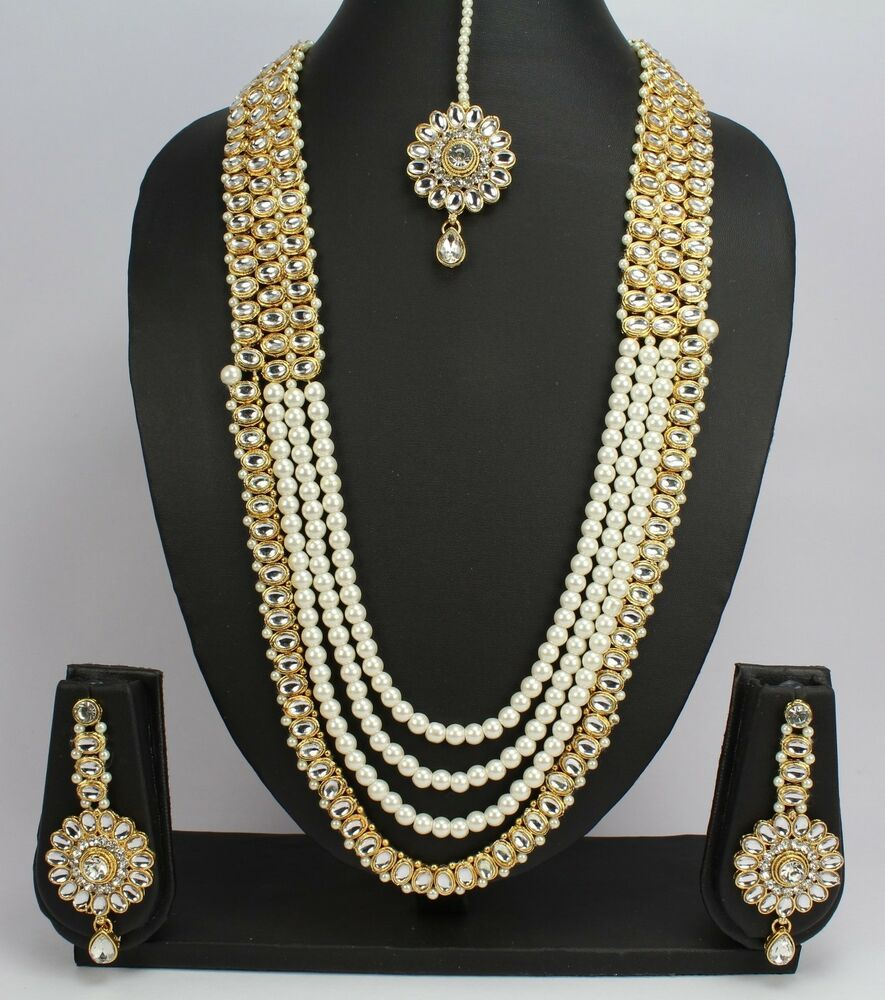 Indian Bridal Wedding Pearl Rani Haar Choker Necklace Sets: Indian Jewelry New Pearl Kundan Wedding Necklace Set
